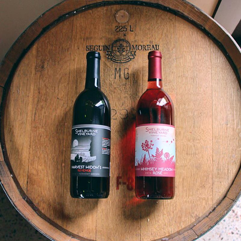 Widow's Revenge and Whimsey Meadow wine labels