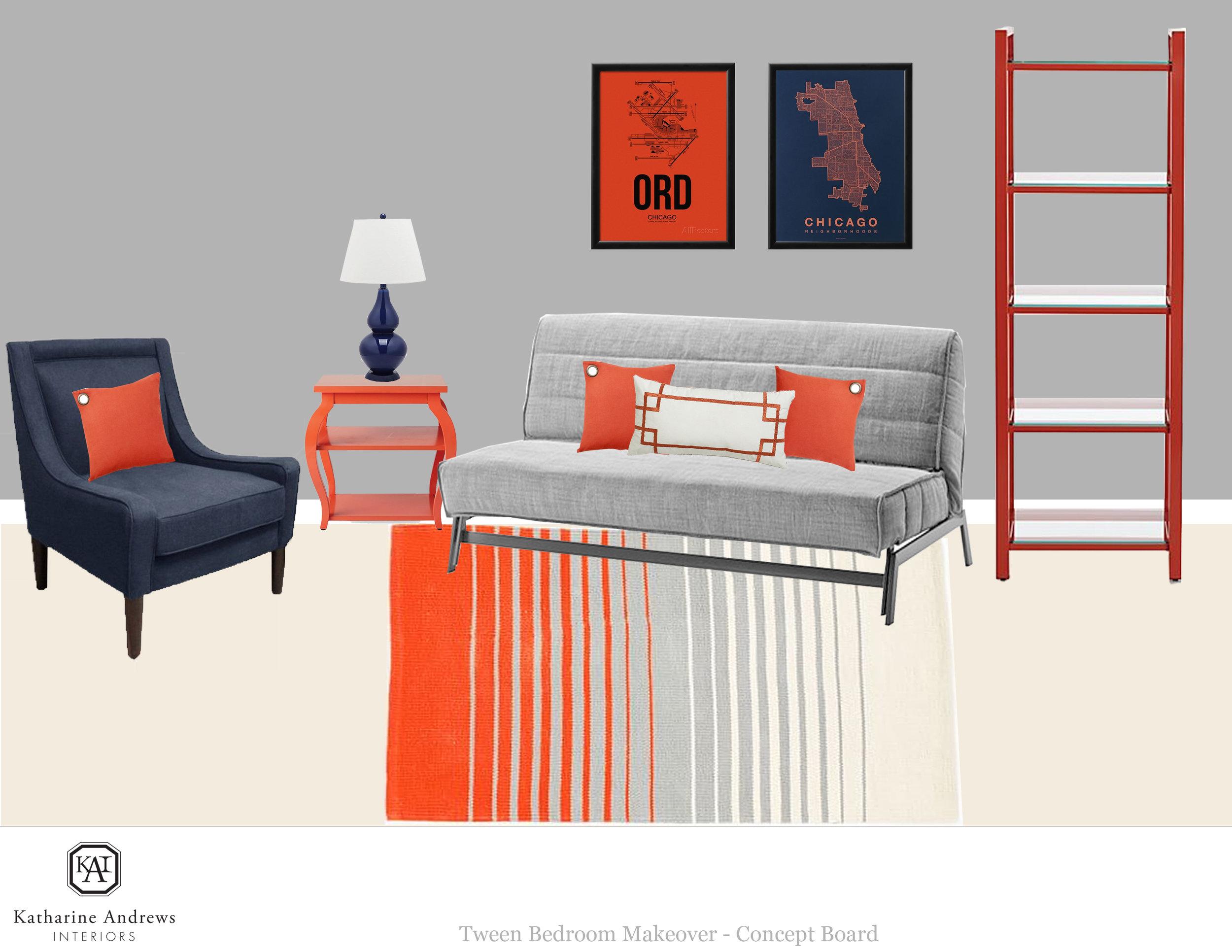VANEK_INSPIRATION BOARD_FUTON WALL W NAVY CHAIR AND ORANGE SIDE TABLE.jpg
