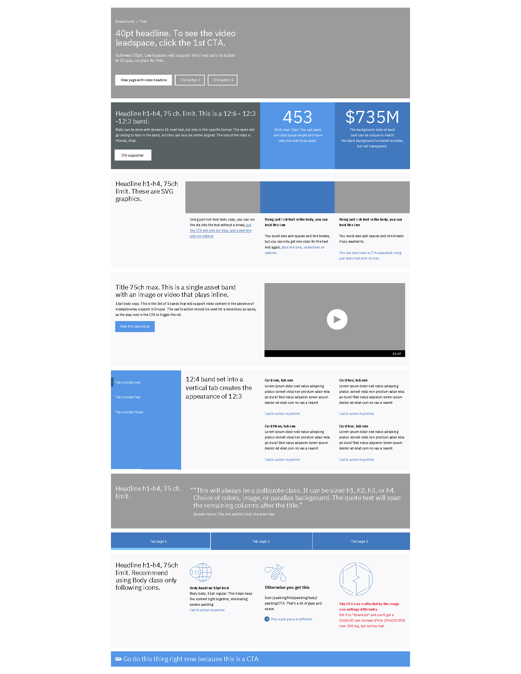 Figure 4: Page Outline within IBM Drupal Style Guidelines