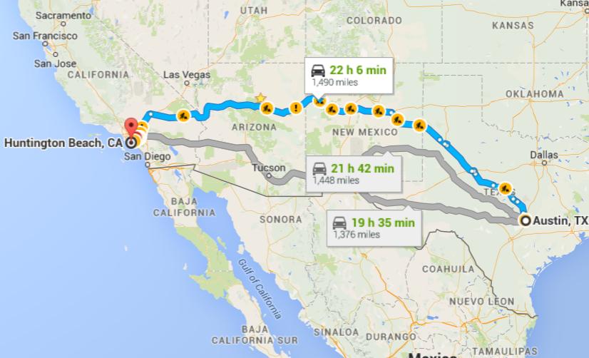 Texas To California Road Trip Map Road Trips: Texas to California — Juanita Fralin Design