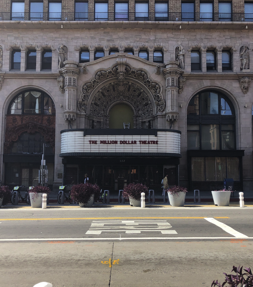 Facade of the Million Dollar Theater which is the older movie theater in the United States.