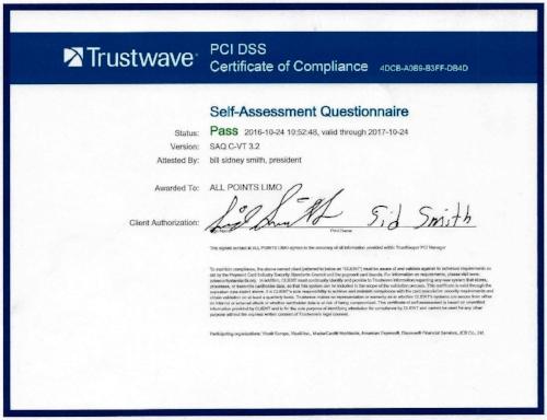 PCI Certified Limousine Company