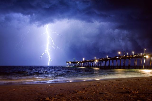 One more from last night. Hell of a show! #summerstorm #weather #itsamazingoutthere #lightning #teamcanon #avalonpier #stormchaser #lovemyhome
