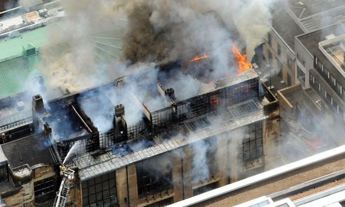 The Glasgow School of Art 'Mackintosh Building' fire in 2014 | Photo by unknown.