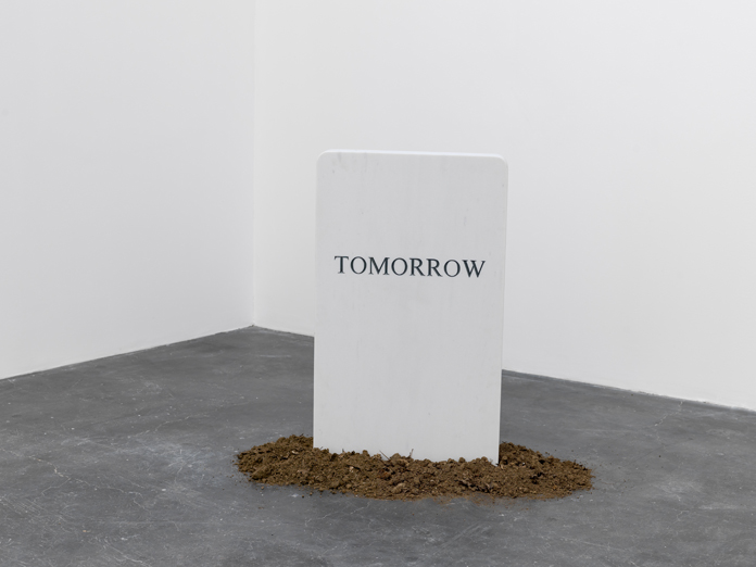 Tomorrow, 2013 | Marble and steel plate | Photo: Eric Gregory Powell | Courtesy Leopoldo Villareal.