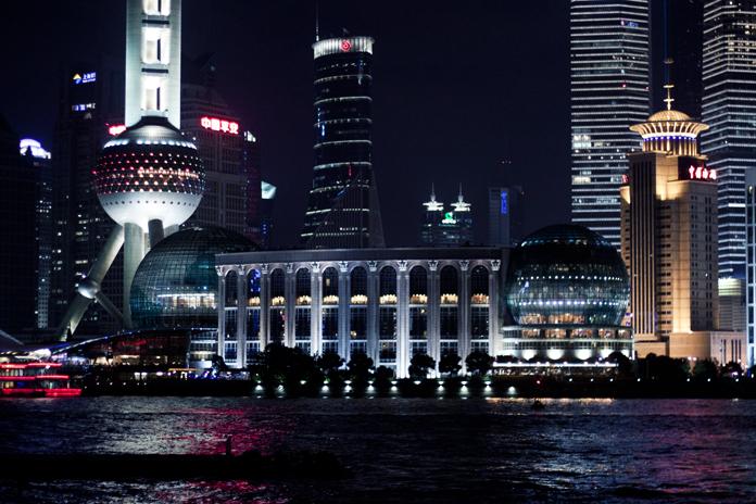 Shanghai's finansielle center; Pudong distriktet.