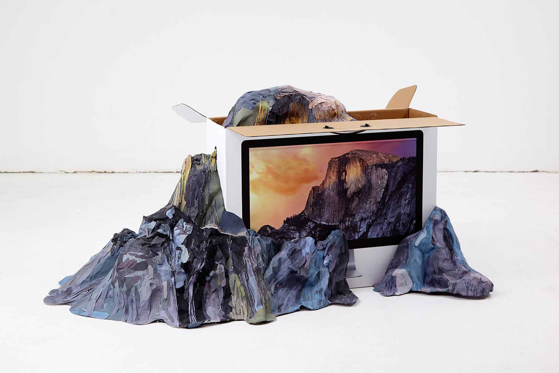 Raw Mountain (from the series 'User Experience'), 2015, paper, glue, iMac box. | Photo: Krisztián Zana.