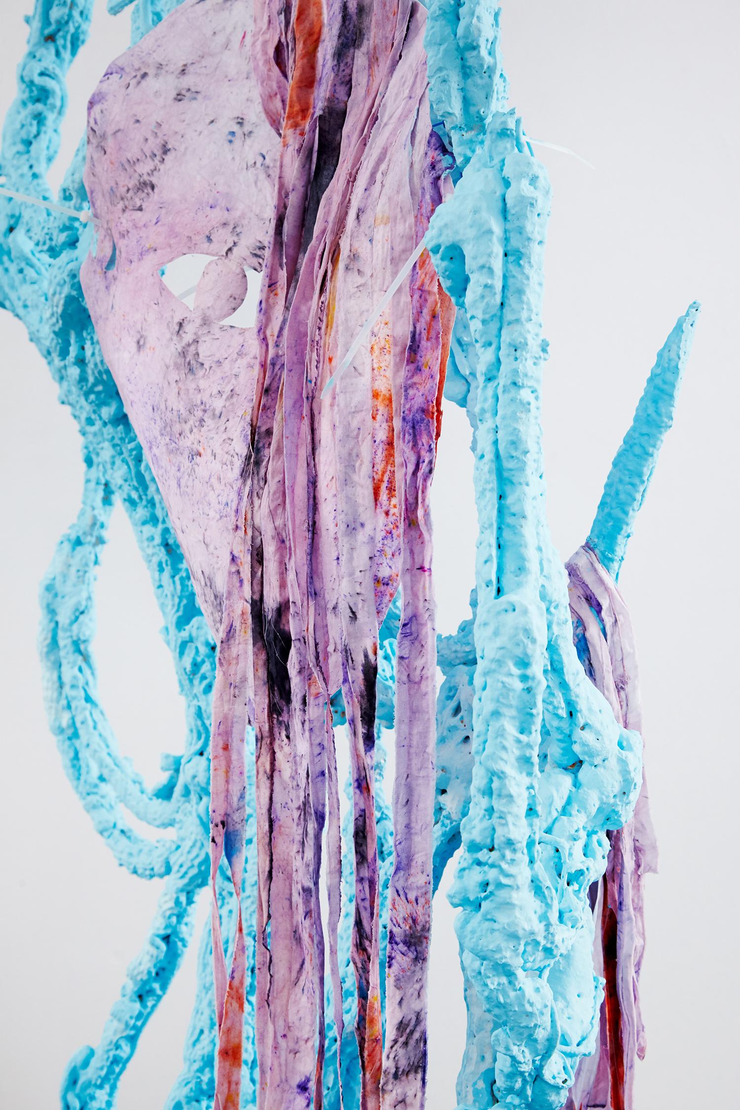 Trophy (The Saddest Profile Picture), 2016, expanding foam, textile dye, waterglass, rope. | Photo: Krisztián Zana.