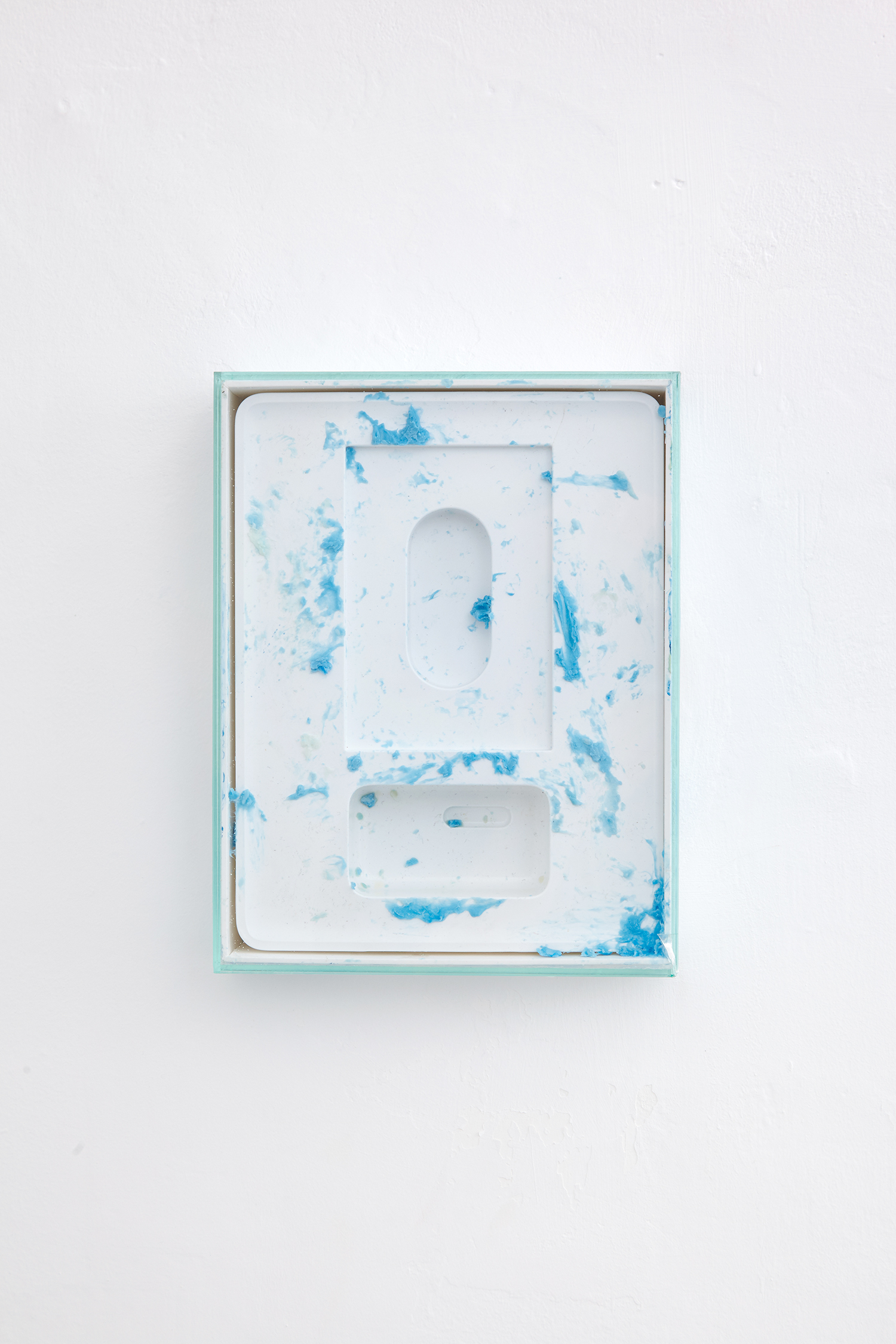 Empty Reliquary Circa 2015, 2016, iPad box, soap, olive oil, acrylic paint, glass. | Photo: Krisztián Zana.