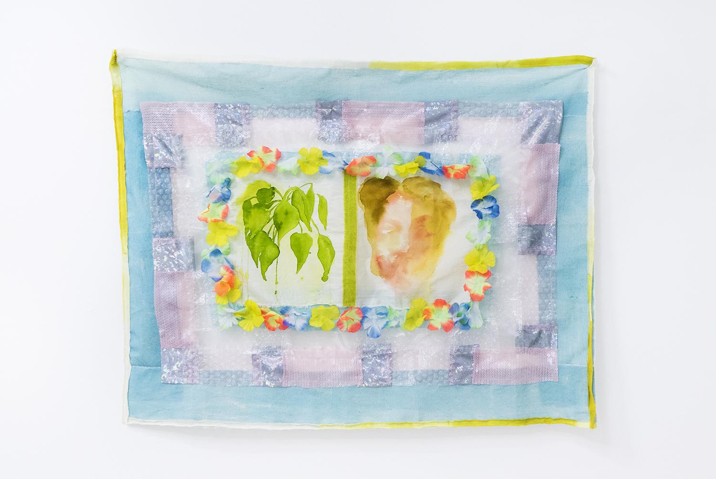 "Anna Sjöström, ""Flora"", 2017 (fabric, artificial flowers, bubblewrap, paint, bleach, 65x82cm) | Foto © I DO ART Agency."