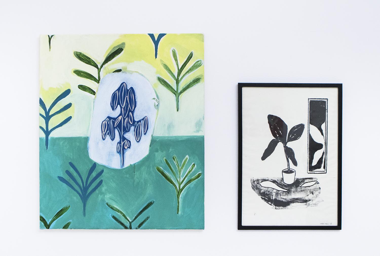 "Coline Marotta ""Untitled"", 2017 (acrylic on canvas, 58x49cm) & Stefan Plahn ""Freuds dagdröm"", 2016 (Litograph on paper, 44x31cm) | Foto © I DO ART Agency."