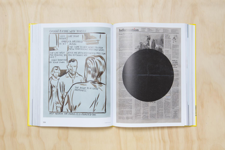 """Raymond Pettibon """"Untitled (K18)"""", 1991 + John Nixon """"Untitled (Circle)"""", 1990."""