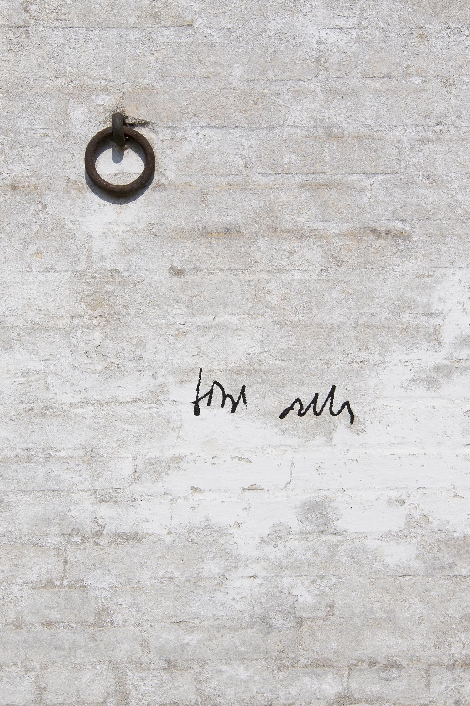 """Udstillingstitlen """"Bird Calls"""" på husmuren. Foto © I DO ART Agency."""