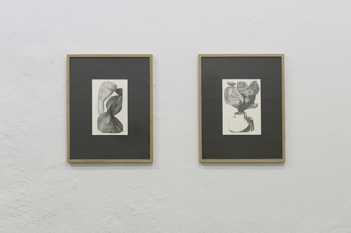 "Mekki Sebastian Brink ""Untitled 1"" and ""2 Drawing,"" 2018 (graphite on paper, 35,3x45,3 cm). Photo: Valérie Collart."