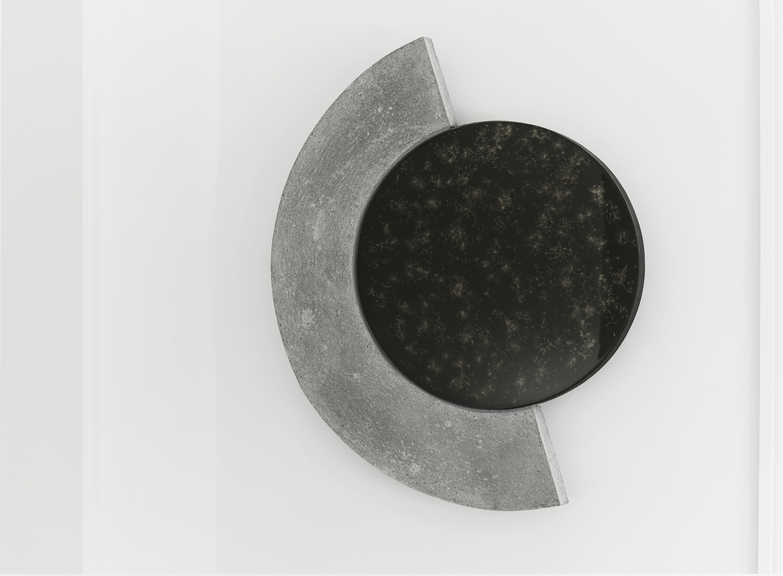 "Studio ThinkingHand ""Eclipse #2,� 2018 (Epoxy resin, concrete, pigment, dandylions. Foraged September 2018 from Værløse, DK. 88(w) x 108(h) x 5(d) cm)."
