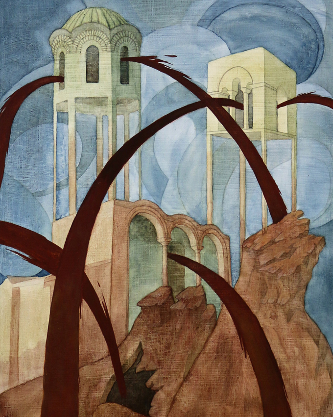 "Luise Sejersen, ""Blood Fountain Hill"" 2018 (tempera på træ)."