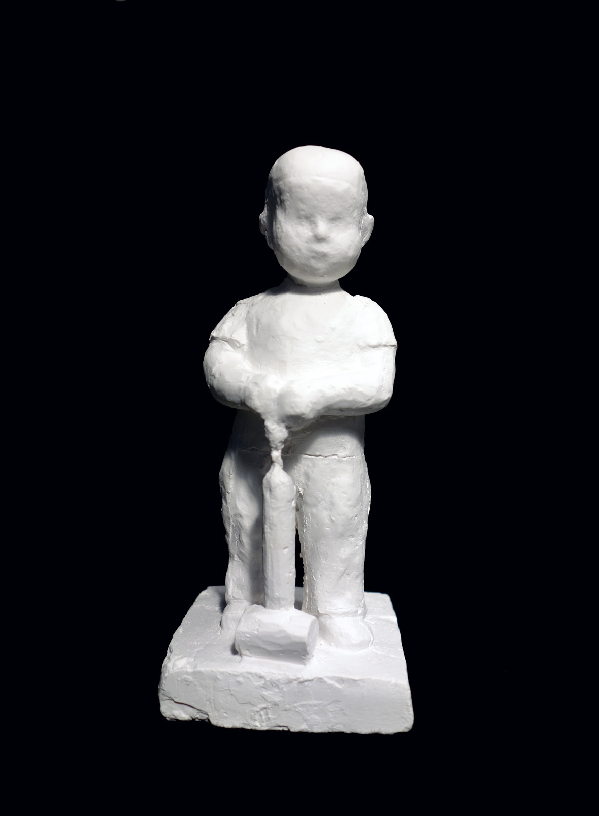 """Astrid Noack """"Boy with insect sprayer"""" (Gypsum, 15cm, original was from 1938). This new-casting from 2015 comes in 25 numbered copies. Produced to raise supporting funds for A.N.A. Courtesy of Nina J Gallery, Copenhagen. Photo by THE WINTER OFFICE, 2019."""