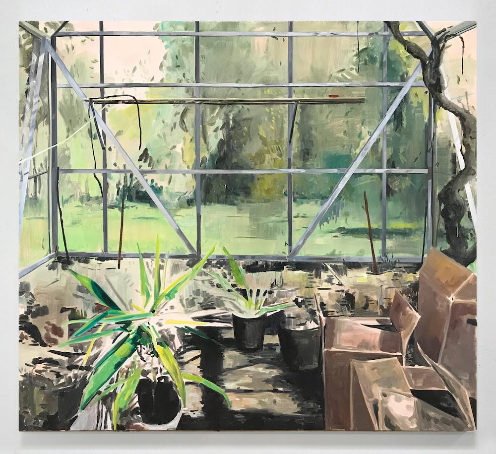 "Ditte Ejlerskov ""Bent's Greenhouse"", 2019 (Oil on canvas, 170 x 190 cm)."