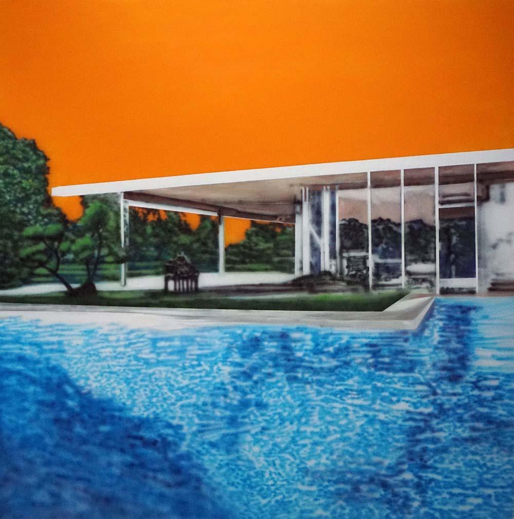 Eamon O'Kane, Neutra Swimming pool with orange sky, 2019 (acrylic on canvas, 200 x 200cm).
