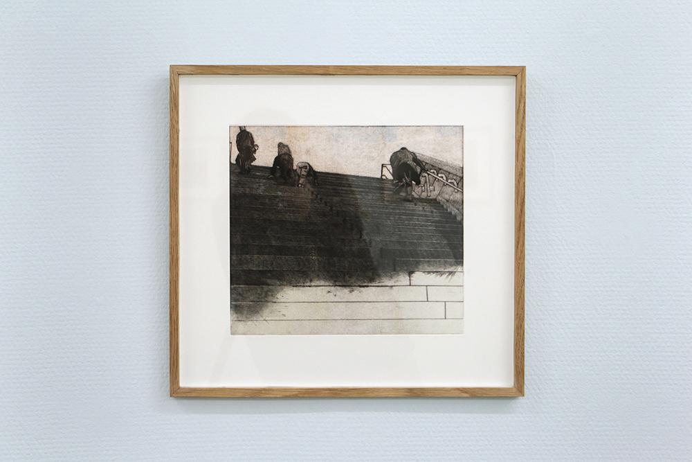 """Malou da Cunha Bang """"Morgenmøde 1,� 2018 (Mezzotinte og koldnål, 39 x 35,5 cm)."""