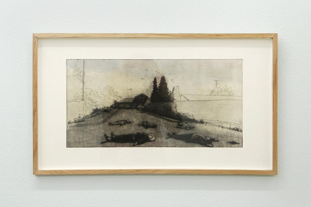 """Malou da Cunha Bang """"Blind vej,� 2018 (Mezzotinte og koldnål, 52,5 x 30 cm)."""