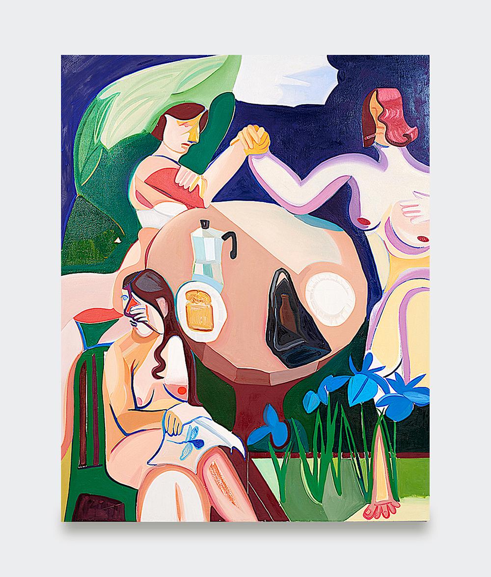 Danielle Orchard, Spring Arm Wrestle II, 2019 (Oil on canvas, 150 x 119 cm).