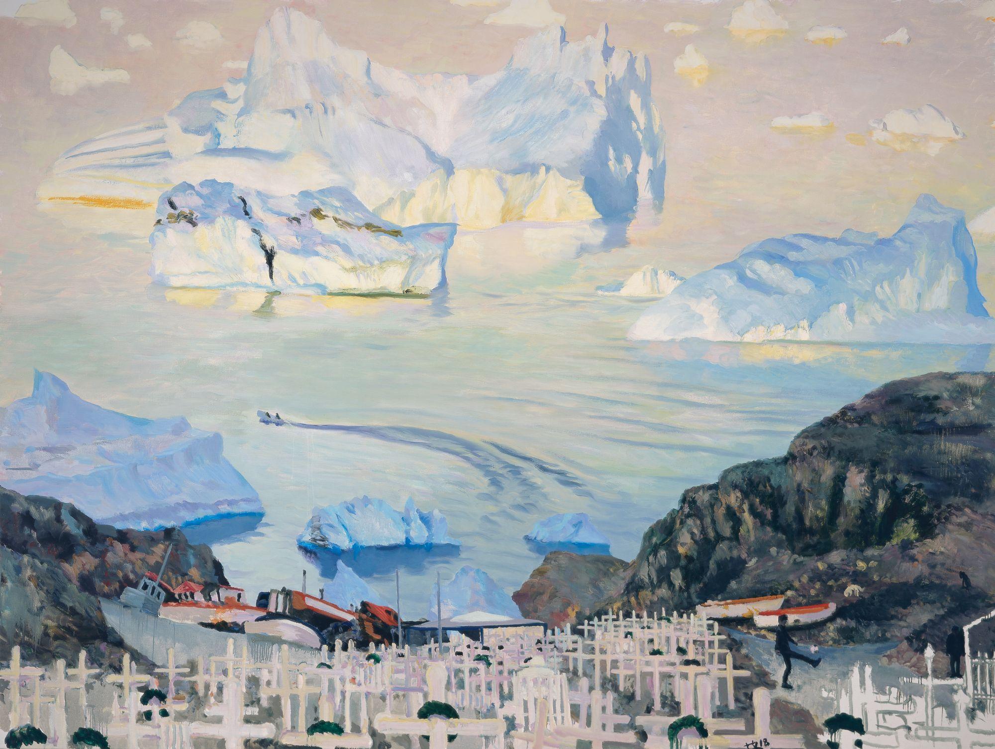 Liu Xiaodong, Smeltende isbjerg, 2018 (Olie på lærred, 300 x 400 cm). I kunstnerens eje © Xiaodong Studio, courtesy Faurschou Foundation.