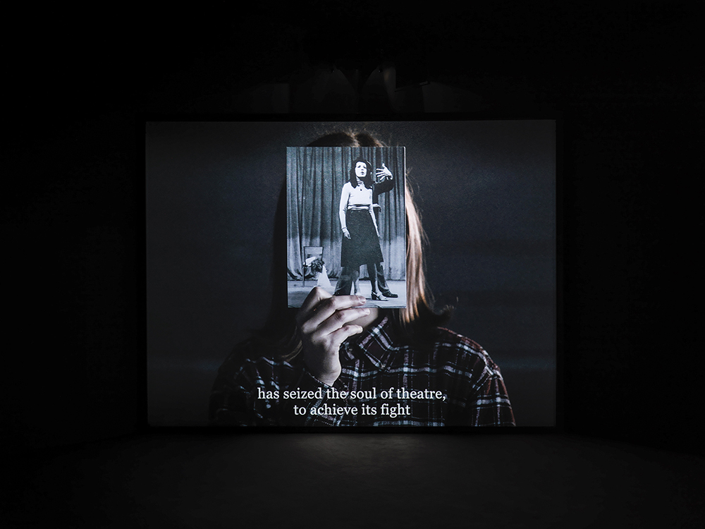 Bouchra Khalili, The Tempest Society, 2017. Digital film, 60'. Commissioned for documenta 14. View at documenta 14, ASFA, Athens. Photo by Stathis Mamalakis. Courtesy of the artist.