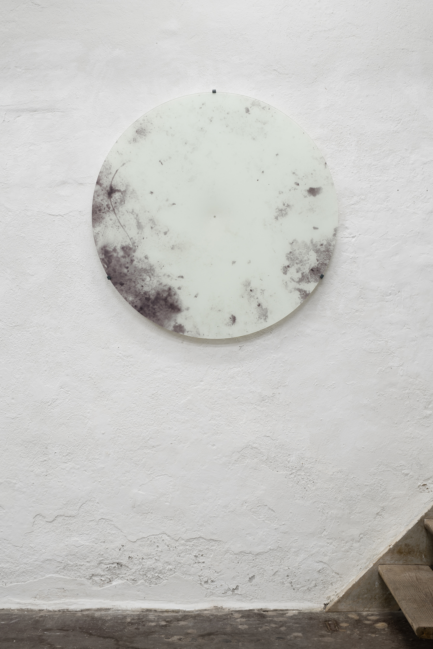 "Jakob Oredsson ""Unseen Being Seen (series),� 2019 (UV Print on 4 mm circular glass sheet, steel brackets. Ø: 110 cm). Photo: David Stjernholm."