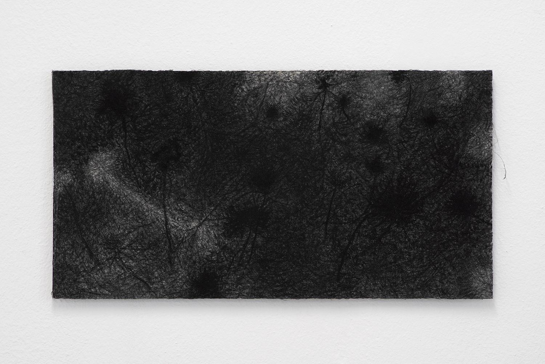"Morten Knudsen ""Nat Arbejde II,� 2019 (Charcoal, pen, canvas, Dibond. 39,7 x 20,6 cm). Photo by Brian Kure."