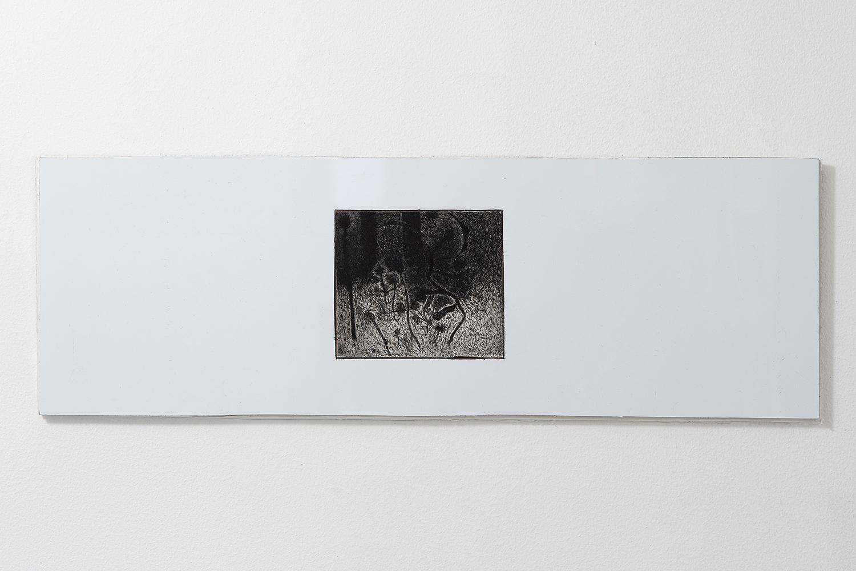 "Morten Knudsen ""Untitled,� 2019 (Etching, pen, pencil, charcoal, paper, copper, Dibond, foamboard. 18,7 x 51 cm). Photo by Brian Kure."
