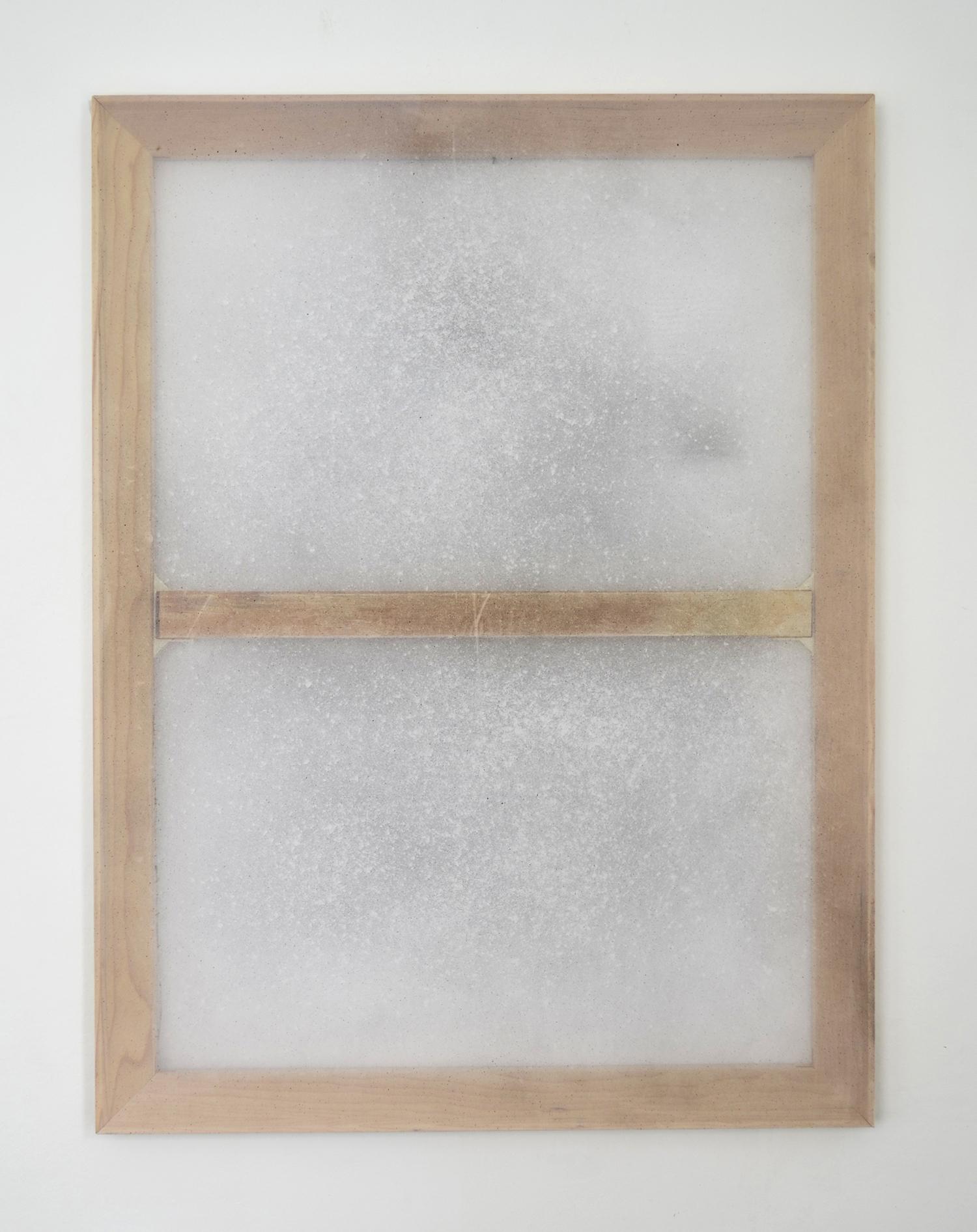 "Alessandro Moroder ""Untitled (Silk Chiffon #5),� 2019 (enamel and dirt on silk chiffon, 101x76cm)."