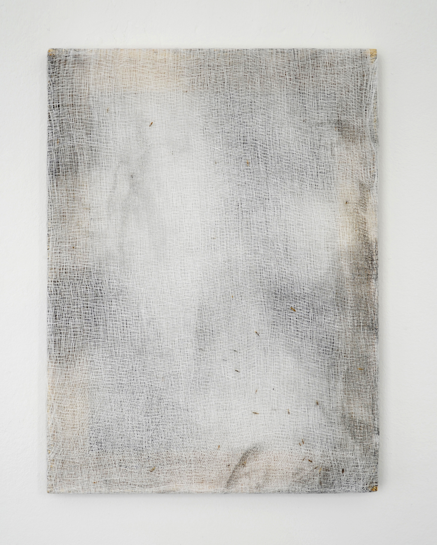 """Alessandro Moroder """"And There They Seemed. Bathed In Silence. All Alone,� 2019 (enamel and dirt on cheese cloth, 40x30cm)."""