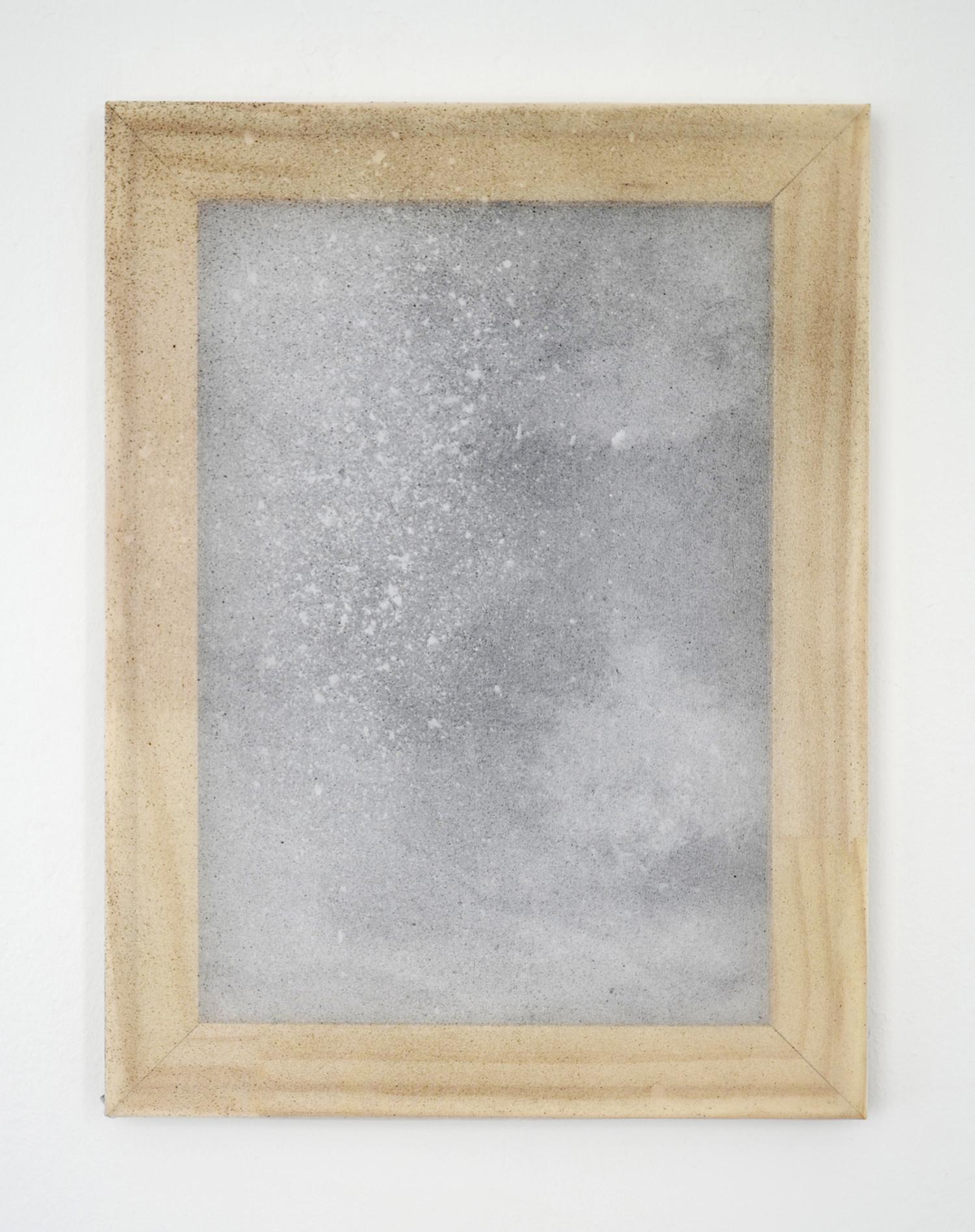 "Alessandro Moroder ""Untitled (Silk Chiffon #7),� 2019 (enamel and dirt on silk chiffon, 40x30cm)."