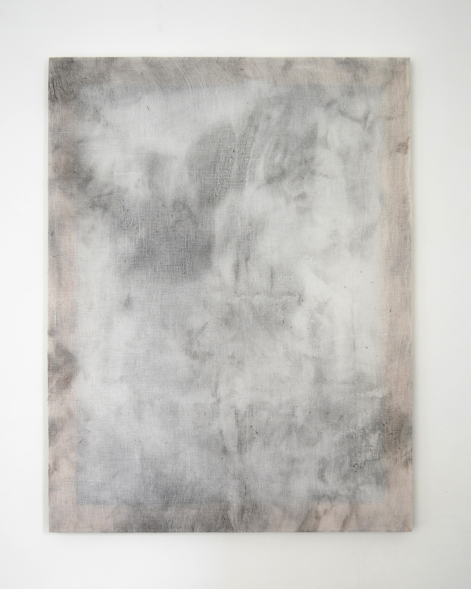 """Alessandro Moroder """"And There They Seemed. Bathed In Silence. All Alone,� 2019 (enamel and dirt on cheese cloth, 101x76cm)."""
