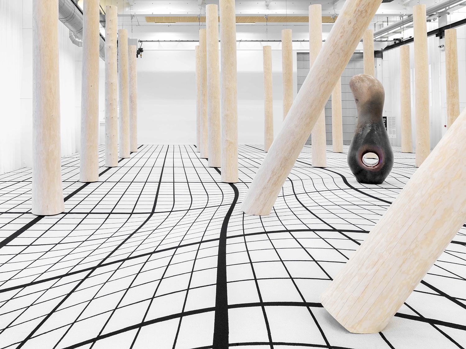 """Claudia Comte """"I Have Grown Taller from Standing with Trees,� 2019 (installation view) at Copenhagen Contemporary. Photo: Roman März."""