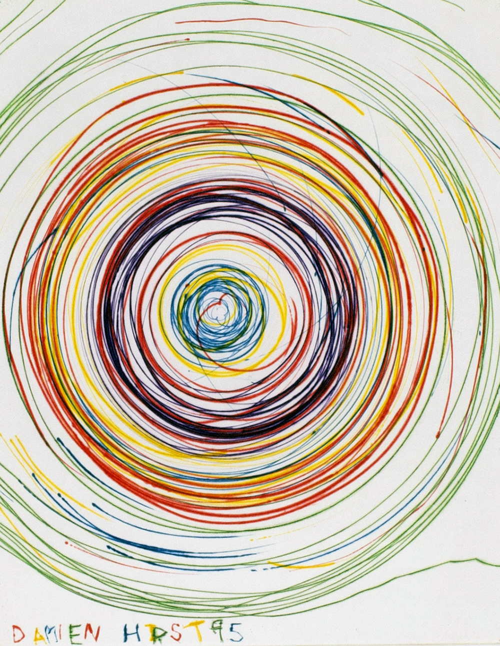 Damien Hirst, Beautiful exotic stretching etchy spinning void etching, 1995. (Koldnålsradering, 44 x 37 cm, BORCH Editions).