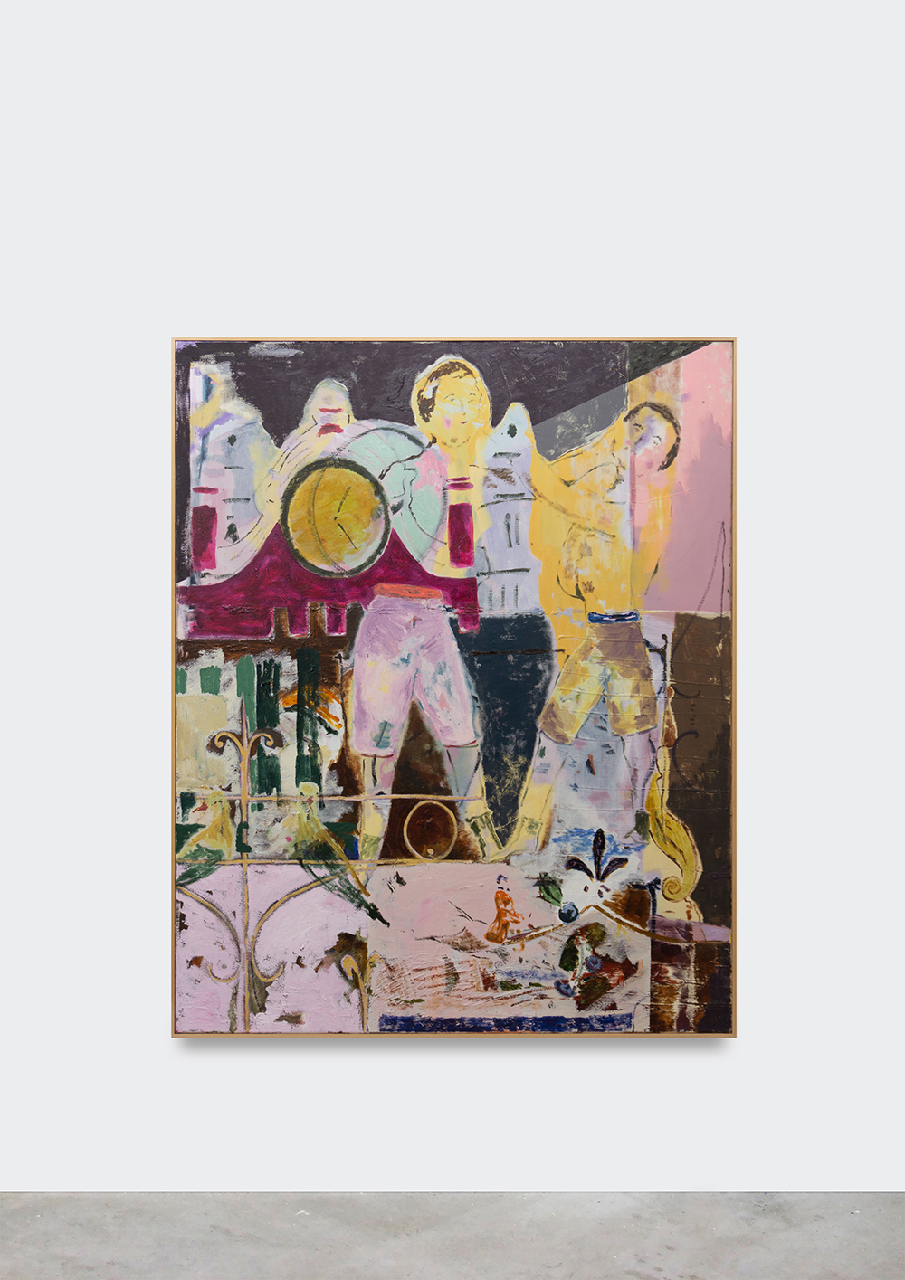 Jon Pilkington, Two cocks, two clocks (tower), 2019. Oil on canvas, 150 x 120 cm. Photo courtesy of V1 and the artist.