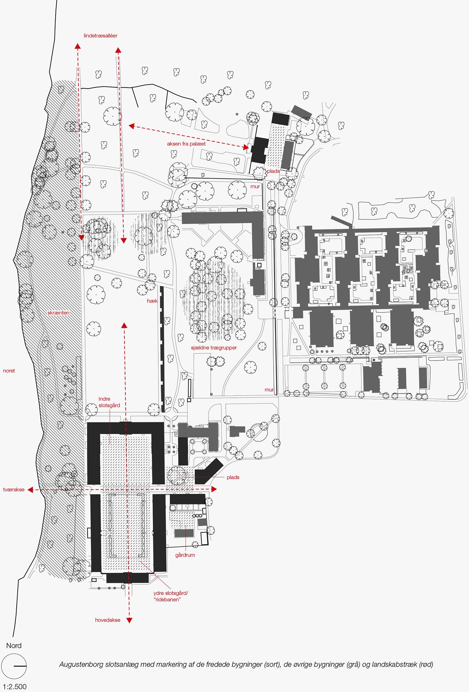 Augustenborg slotsanlæg med markering af de fredede bygninger (sort), øvrige bygninger (grå) og landskabstræk (rød). Kort: Arkitema Architects.