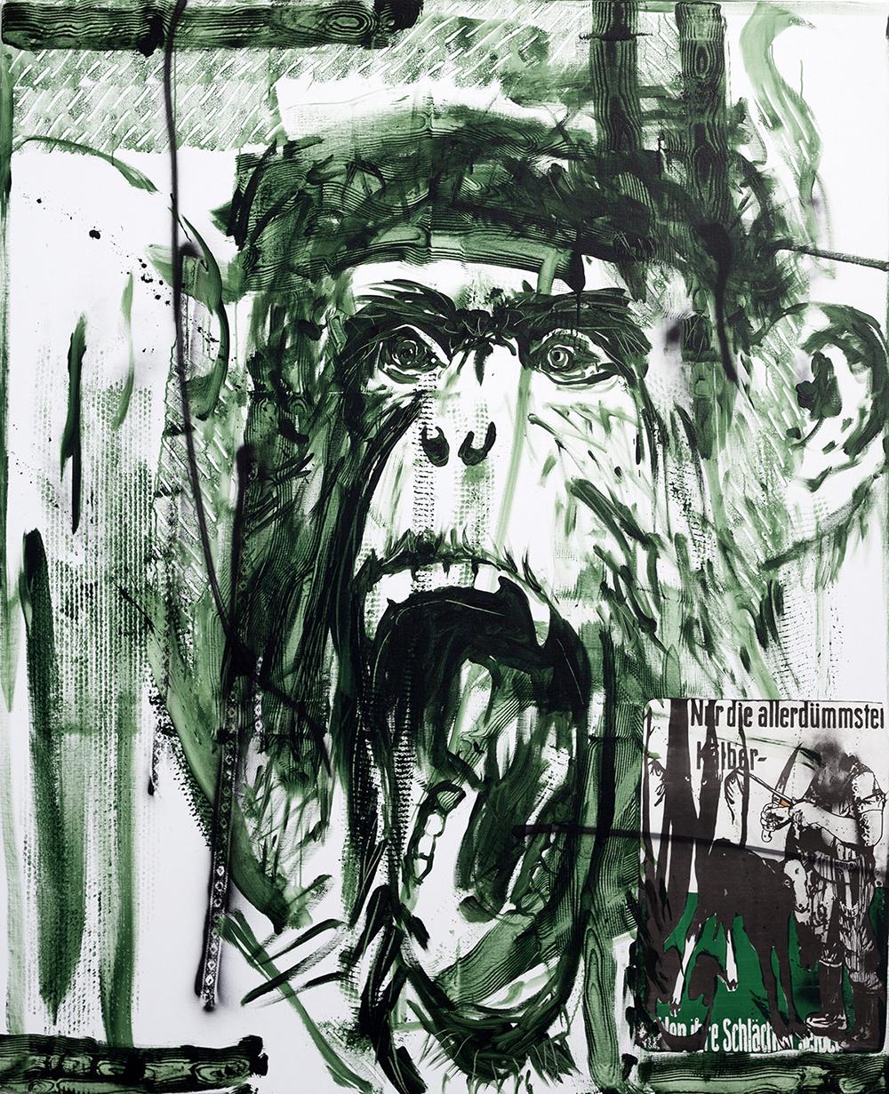 Claus Carstensen: Gott mit uns!, 2017.  (Collage, akryl og spray på lærred, 220 x 180 cm).
