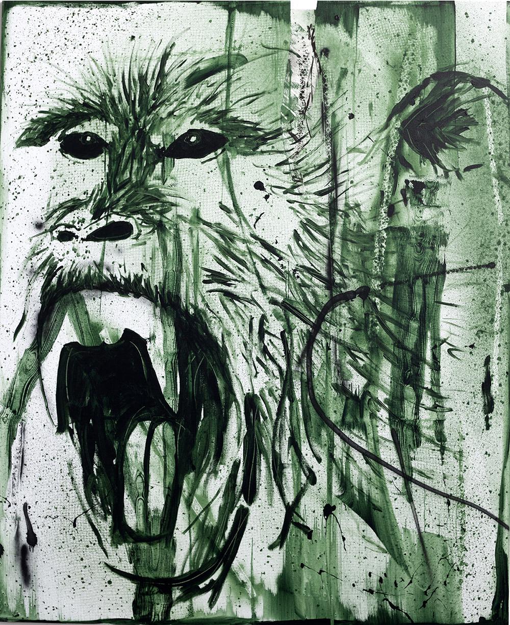 Claus Carstensen: Grønt net, 2017.  (Akryl og spray på lærred, 220 x 180 cm).
