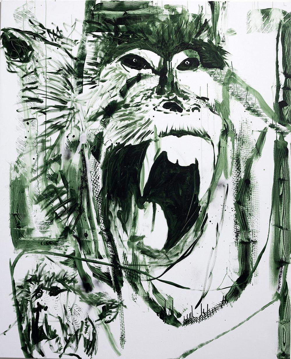 Claus Carstensen, Hvad ser den i det andet ansigt?, 2017. (Akryl og spray på lærred, 220 x 180 cm).