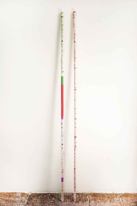 Neda Zarf Saz: Untitled No. 12/14 + Untitled No. 13/14, 2017. Fra Illusion Series (2018) (Træpind fotografi, maling, tråde, harpiks, 148 x 2 x 2 cm).