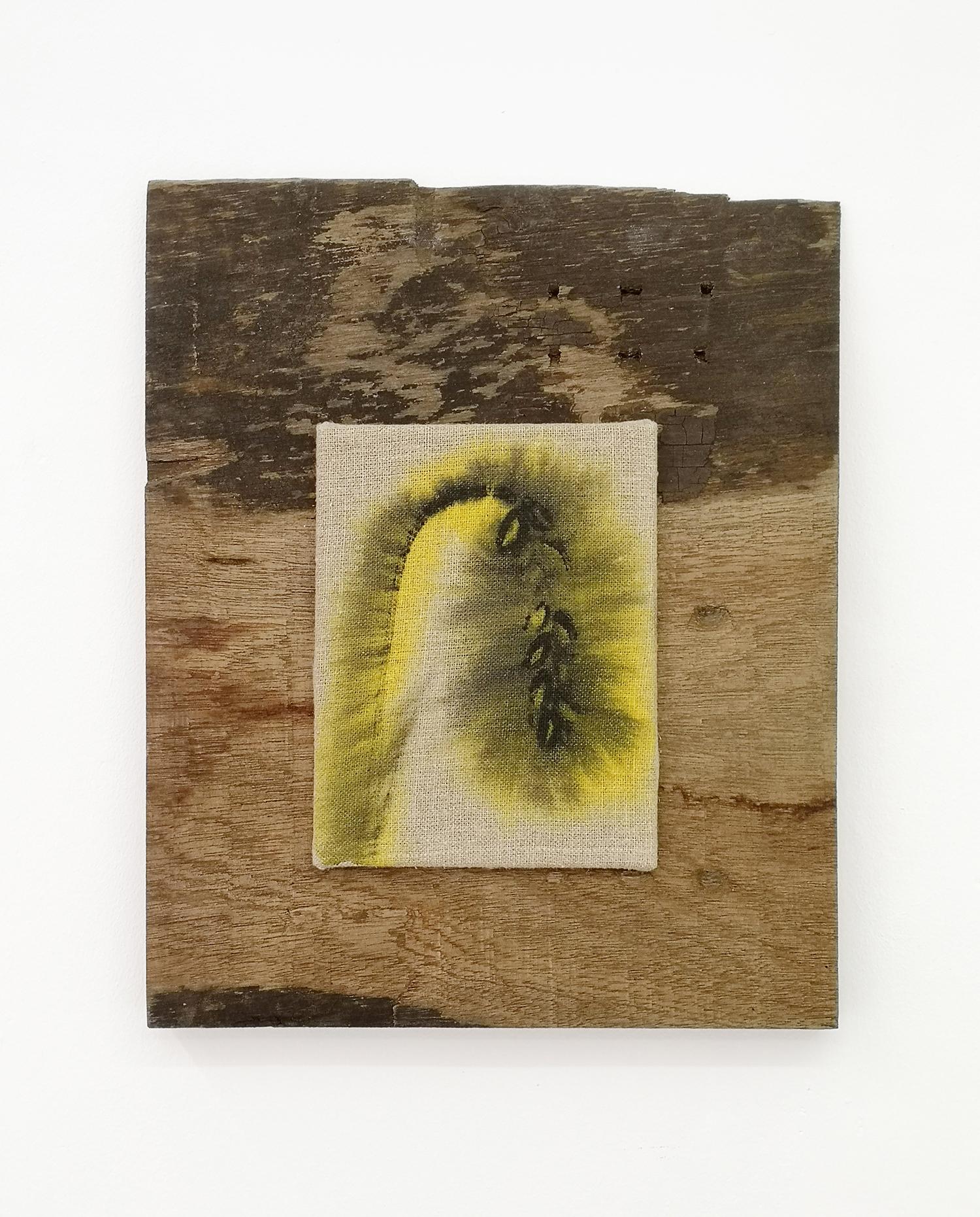 """Lars Worm """"Korn,� 2018 (hørlærred, akrylmaling, træ). Foto: Søren Hüttel."""