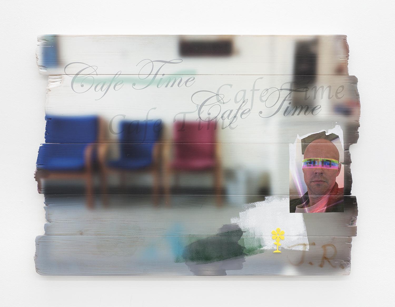 "Torben Ribe ""Cafe Time,� 2018 (UV-print på træ, akryl, inkjet på papir, sticker, 60x80 cm). Foto: Torben Ribe."