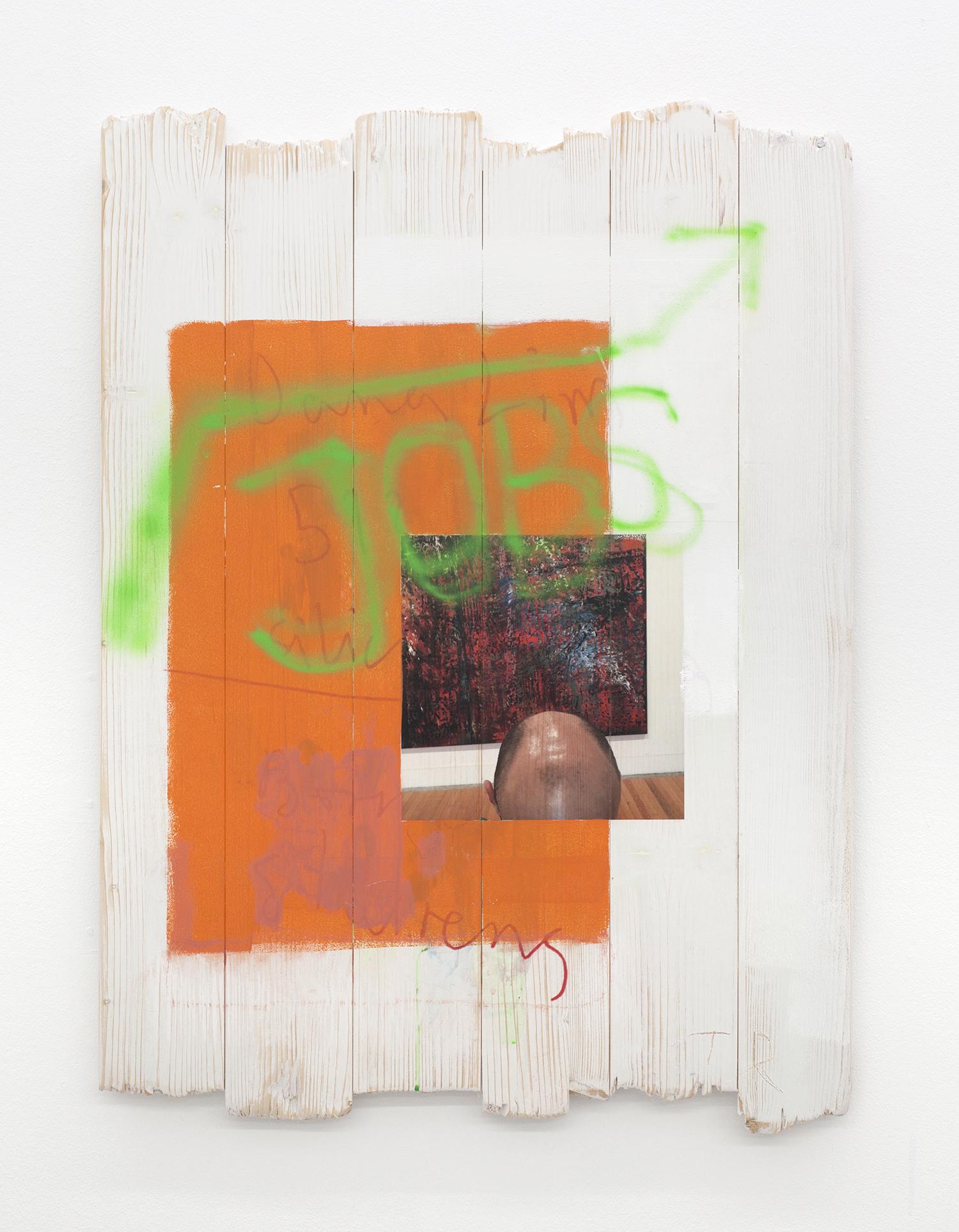 """Torben Ribe """"Untitled (JOBS),� 2018  (UV-print på træ, akryl, 80x60 cm). Foto: Torben Ribe."""