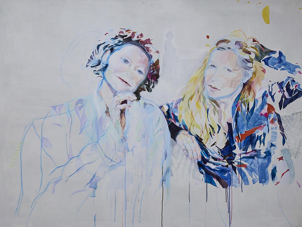 """Vivi Christensen """"BLIK / To veninder I� (Akryl på lærred 150 x 200 cm).  Foto: Kirstine Mengel."""