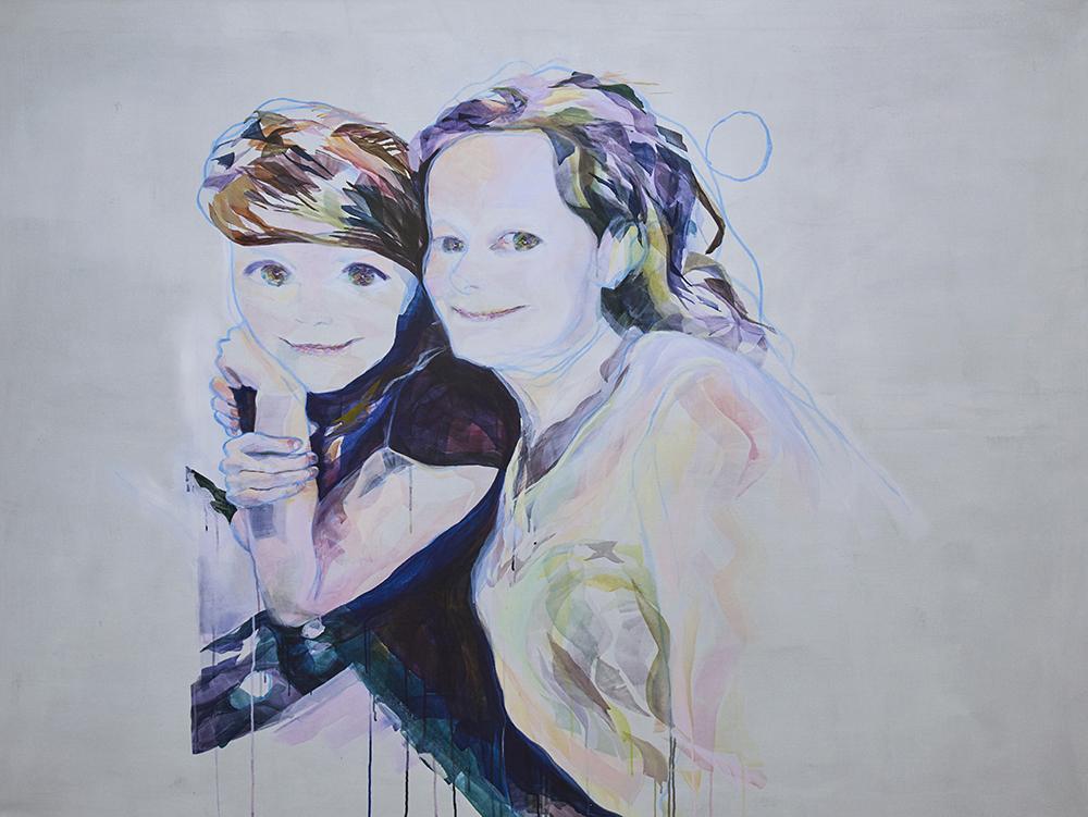 """Vivi Christensen """"BLIK / To veninder II� (Akryl på lærred 150 x 200 cm). Foto: Kirstine Mengel."""