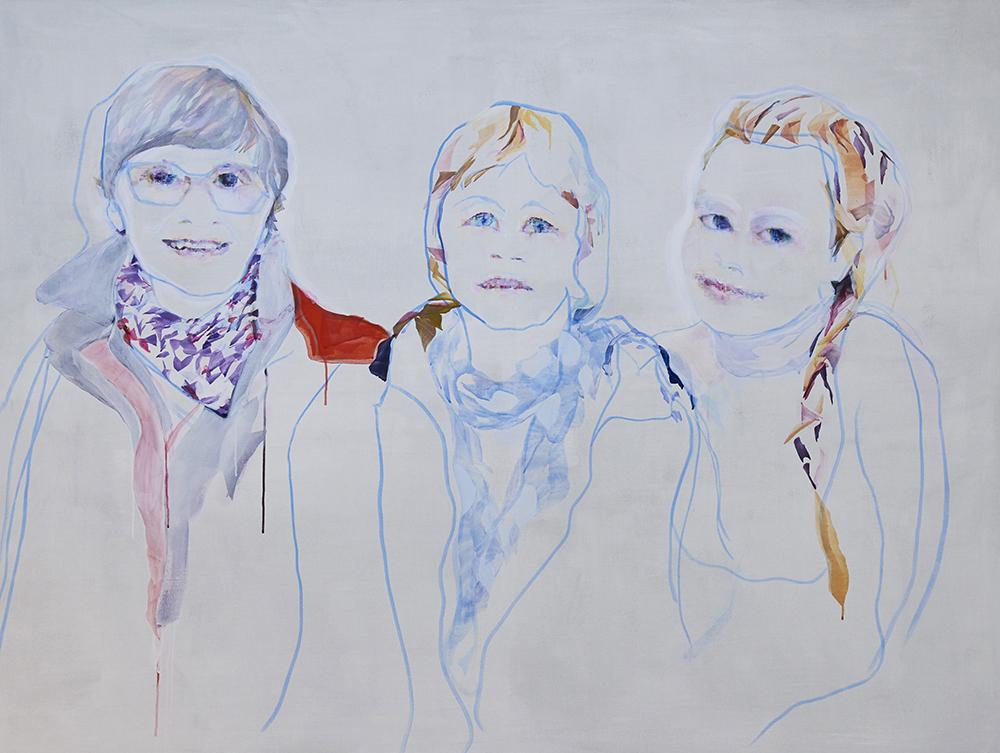 "Vivi Christensen ""BLIK / Svigermor, mor og datter� (Akryl på lærred 150 x 200 cm). Foto Kirstine Mengel."