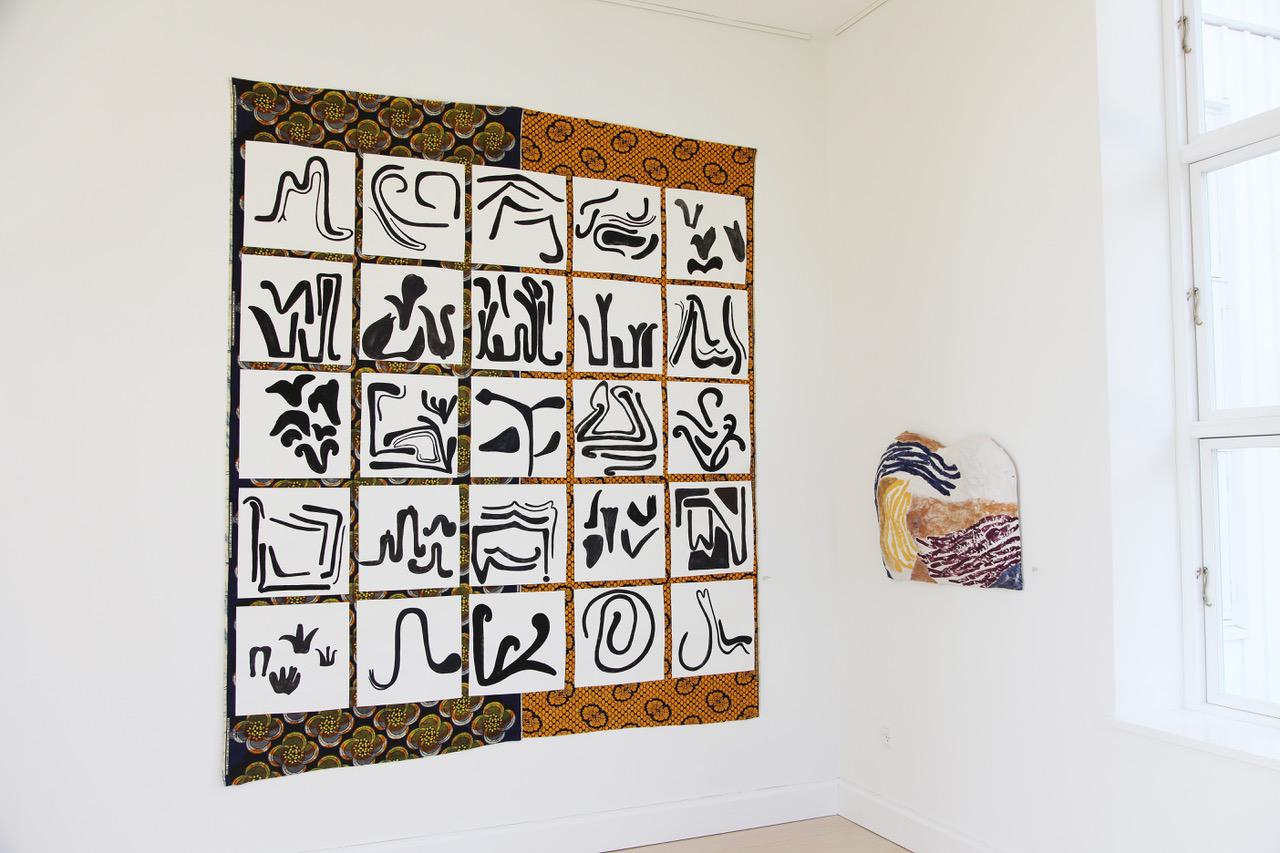 """Milena Bonifacini """"Rytmiske Relisationer,� 2018  (gouache på papir og textil, 280 x 230 cm)."""